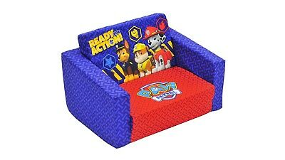 Paw Patrol Flip Out Sofa w/ Cosy Chair Cover, Machine Washable, in Blue & Red