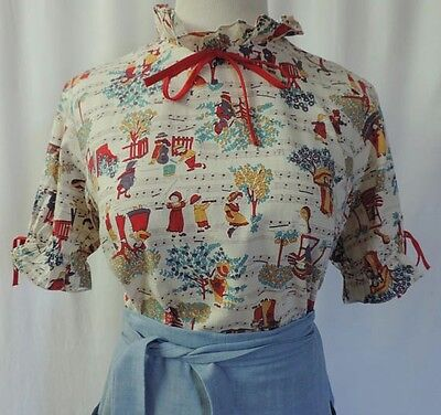 VTG 70's Novelty Print Short Sleeve Button Back Novelty Print Blouse Medium