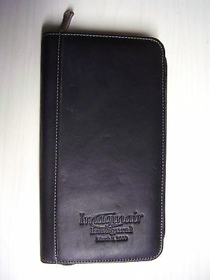Leed's Vtg Black Genuine Leather Credit Card Zippered Organizer Portfolio Wallet