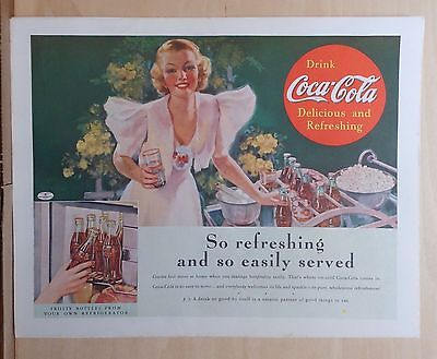 1937 magazine ad for Coca-Cola - Woman in Summertime with Cokes & ice, Frosty