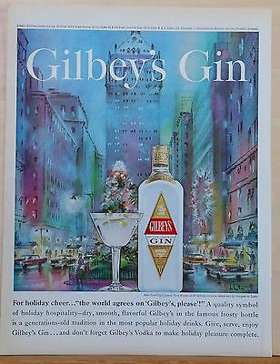 1962 magazine ad for Gilbey's Gin, Park Ave holiday scene by Georgette de Lattre