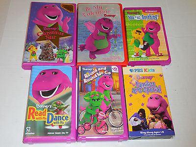 Barney & Friends Purple Dinosaur VHS Lot of 6 Video Tapes Families Are Special
