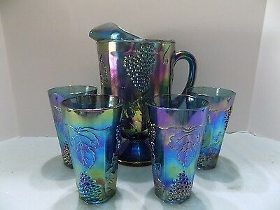 Vtg. Indiana Carnival Glass Blue Grape Harvest Iridescent 4 Glasses & Pitcher