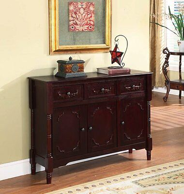 Wooden Console Sideboard Buffet Table Drawers Storage Shelves Cherry USA Made