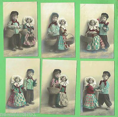 #N. Six  Postcards, Young  German Girl & Boy, Traditional Dress , About 1912
