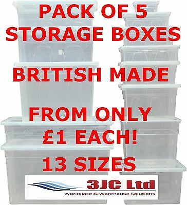 NEW Pack 5 x British Made Premium Clear Plastic Storage Boxes With Lids 13 Sizes
