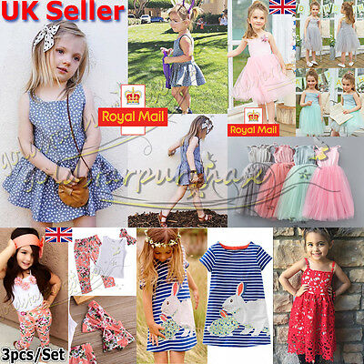 UK Stock Baby Kids Girls Chiffon Sun Tops Summer Outfits Striped Dresses Clothes
