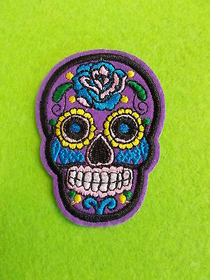 *** Sugar Skull Embroidered Iron On / Sew On Cloth Patch New Purple - 1 Patch **