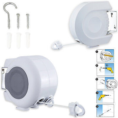 15-30M Retractable Automatic Washing Clothes Line Indoor Outdoor Wall Mounted