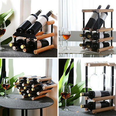 Timber Wine Rack Wooden Storage Organiser Stand 2/4/6 Bottle&Wine Glass Disply