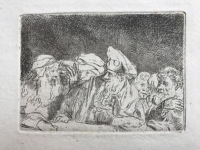 """Rembrandt etching. Pharisees from the """"Hundred-guilder print"""""""