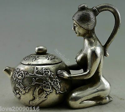 Collectible Decorated Old Handwork Silver Plate Copper Carve Belle Kneel Tea Pot