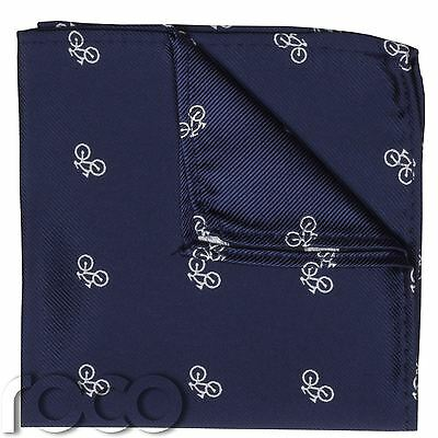 Boys Navy Handkerchief, Bike Print, Printed Hankys, Navy Blue Accessories