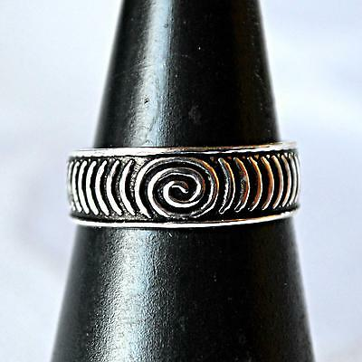 Spiral of Life 925 Solid Silver Toe Pinkie Ring~Reiki~Goddess~Pagan Jewellery