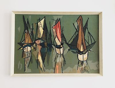 Large Original Retro 1950's Framed Abstract Fabric Mixed Media Picture Of Boats