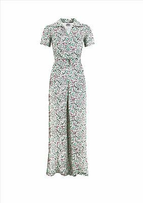 Seamstress of Bloomsbury Lauren Siren Suit 1940s Crepe Vintage Mint Jumpsuit WWI