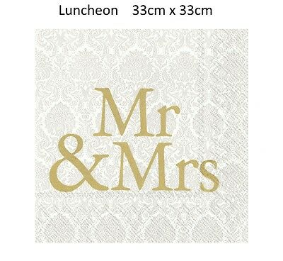 Wedding Paper Napkins Gold Cream Mr & Mrs Disposable 3 Ply Luncheon Serviettes