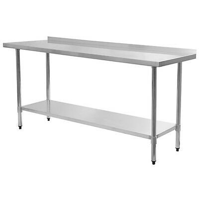 "NEW 24"" x 72"" Stainless Steel Food Prep Table with Backsplash"