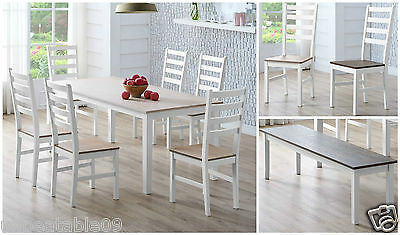 Solid Pine Wood Extending Canterbury Dining Table and 4 or 6 Chair Set or Bench