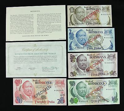 Botswana Set of 5 Original 1979 Specimen Banknotes with COA - Franklin Mint
