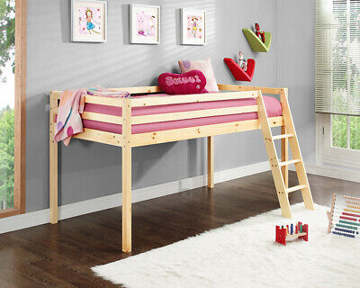 Kids Bunk Bed Mid Sleeper Wooden Pine Cabin Bed with Ladder