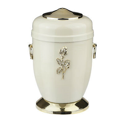 Beautifu Metal Cremation Urn for Ashes with Gold Rose Funeral Urn for Adult