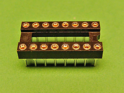 6x IC SOCKET 16 pin Turned Pin Gold Plate PCB DIL 0.3""