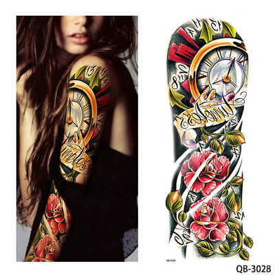 Red Roses Clocks Large Tattoo Temporary Stickers Body Art 3D Tatoo Waterproof