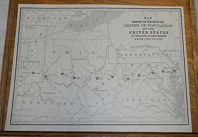 1891 Map/UNITED STATES CENTERS Of POPULATION At Each DECADE
