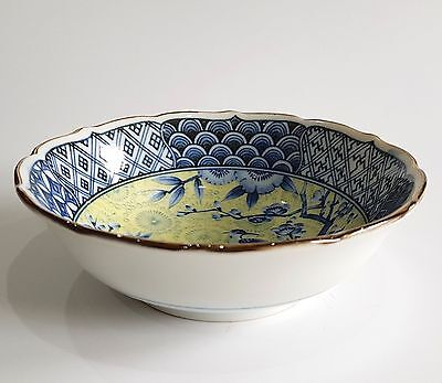 Japanese Fine Porcelain Footed Bowl Blue White Yellow Floral Bird Geometric