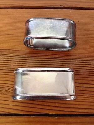 Vintage Antique Alpacca Sterling Silver Pair Fancy Formal Oval Napkin Rings