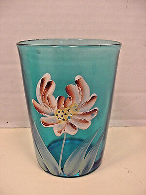 VICTORIAN Antique Blue Tumbler Glass Hand Painted Enameled Flower 1 glass