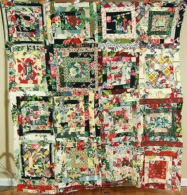 MAGNIFICENT 40's Log Cabin Antique Quilt Top ~COLORFUL VINTAGE BARKCLOTH FABRICS