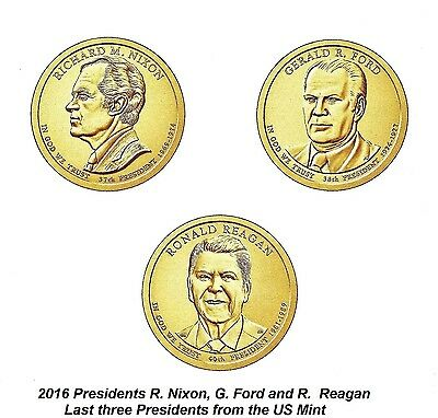 2016 D&P Last 3 Presidential Dollar Coins, Set of 6, Nixon, Ford & Reagan, Nice