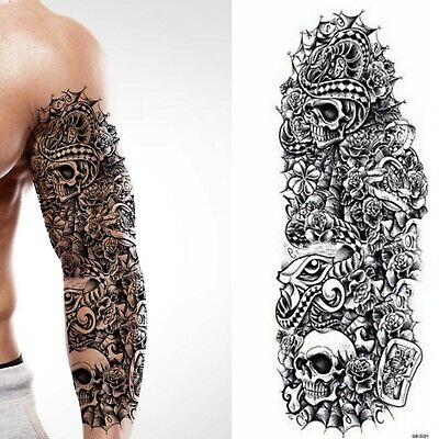 Temporary Tattoo Full Arm Sleeve Black Skulls Snake Roses Bones Tribal Spider UK