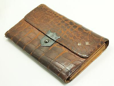Antique 19c English Victorian Sterling Silver Mounted Alligator Wallet