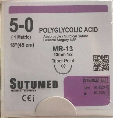 SUTUMED POLYGLYCOLID ACID 5-0, 1/2 13mm taper point needle Surgical Suture
