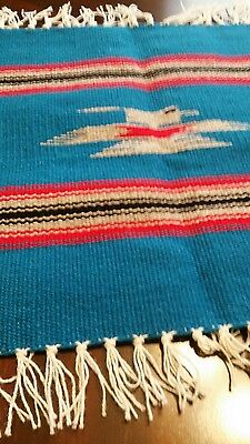 "Chimayo Weaving 100% Wool Textile Royal Blue 15"" ×14 1/4 "" Made in Northern N.M"