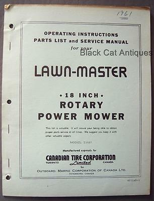 """Orig OMC Lawn-Master 18"""" Rotary Power Mower Owners Manual/Parts List Model T1087"""