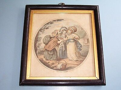 "Rare Georgian Miniature Print ""the Fortune Teller"" Children Ebonized Frame C1790"