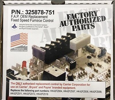 Genuine Oem Carrier, Bryant, Payne 325878-751 Fixed Speed Furnace Control Board