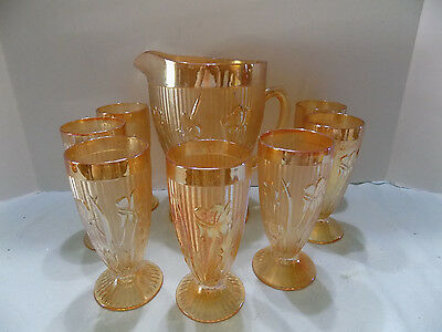 Jeanette Iris And Herringbone Marigold Iridescent Pitcher And 7 Glasses (Rx-13)
