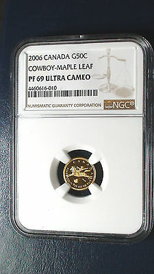 2006 50c Canada 1/25 OZ Gold Cowboy Maple Leaf PF 69 Ultra Cameo Low Mintage