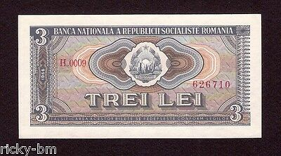 Communist ROMANIA 3 Lei 1966 Choice  UNC banknote . Pick #92a . Very scarce !!
