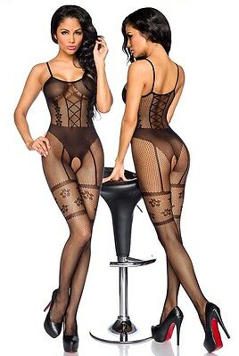 Sexy Netz Catsuit Straps Look Bodystocking Ouvert Body Stocking Overall Nylon