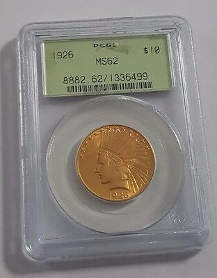 1926 $10 Indian PCGS MS62 Gold Coin Old Green Holder AG6499