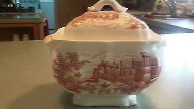 soup tureen red and white print