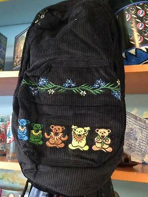 Grateful Dead Recycled Corduroy Dancing Zen Bear Backpack Black w/ Embroidery