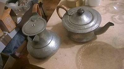 2 Pretty Hammered Pewter Arts And Crafts Castle Pewter Coffee & Teapot
