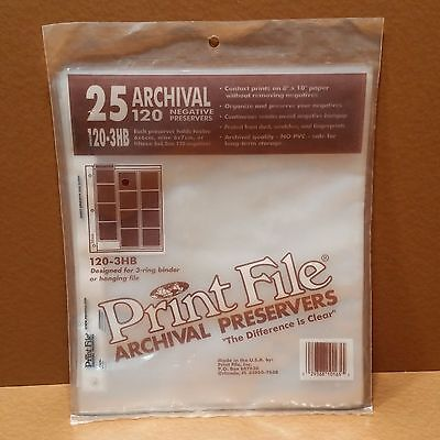 NEW Print File (120-3HB style) Negative Preservers for 120 Film 25 pack